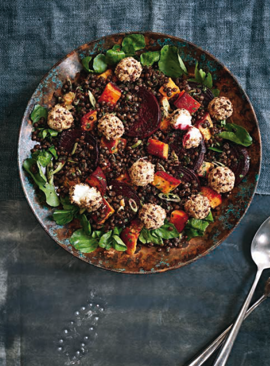 Roasted Rainbow Salad with Cocoa Nibs, Puy Lentils & Goast Cheese recipe