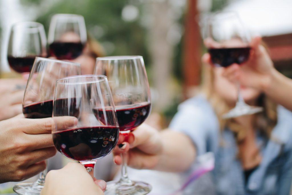 multiple glasses of red wine