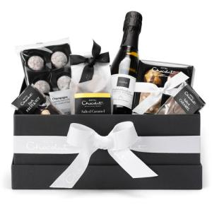 chocolate hamper with chocolate champagne, chocolate truffles, milk chocolate, and dark chocolate