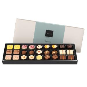 patisserie chocolate box selection with milk chocolate, white chocolate, dark chocolate