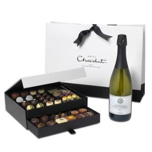 chocolate box with prosecco and chocolate alcohol