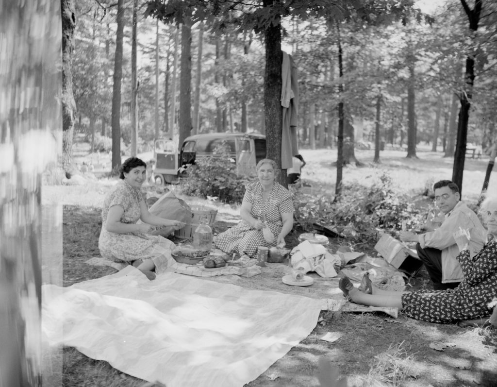 People enjoying a vintage picnic with a hamper
