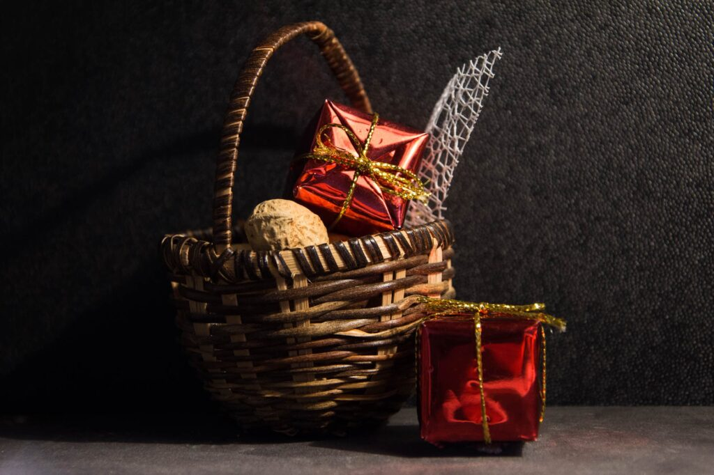 Christmas hamper with wrapped presents