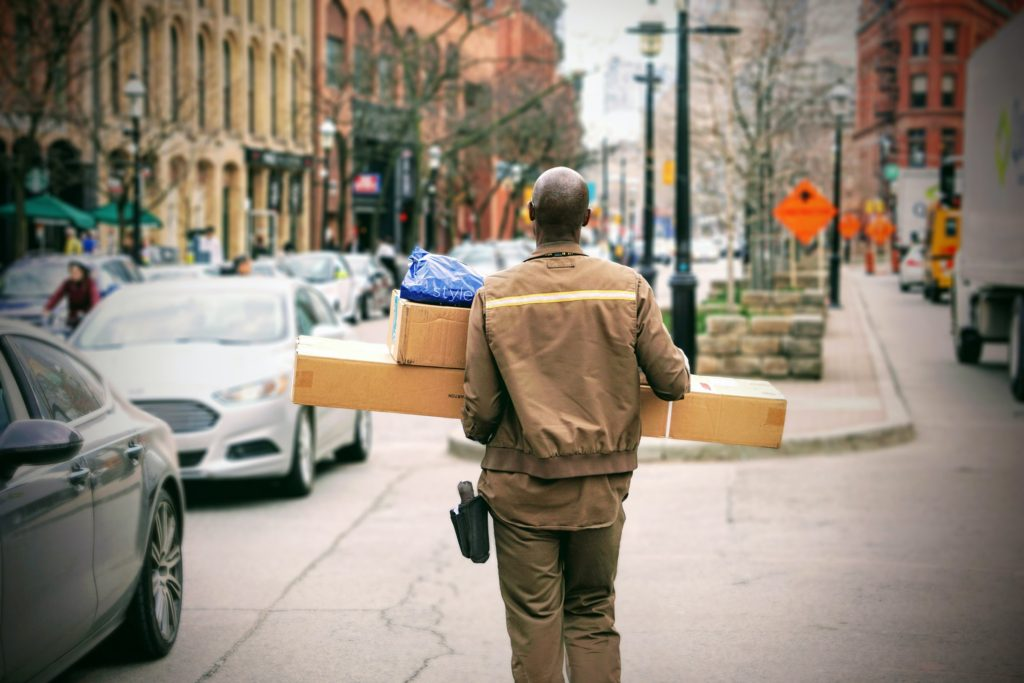 delivery person with boxes