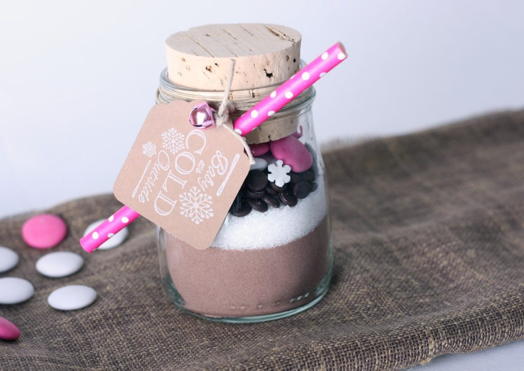 Layered diy hot chocolate gift