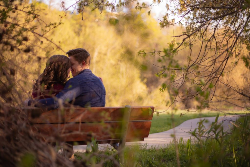 Couple kissing on a bench for valentines