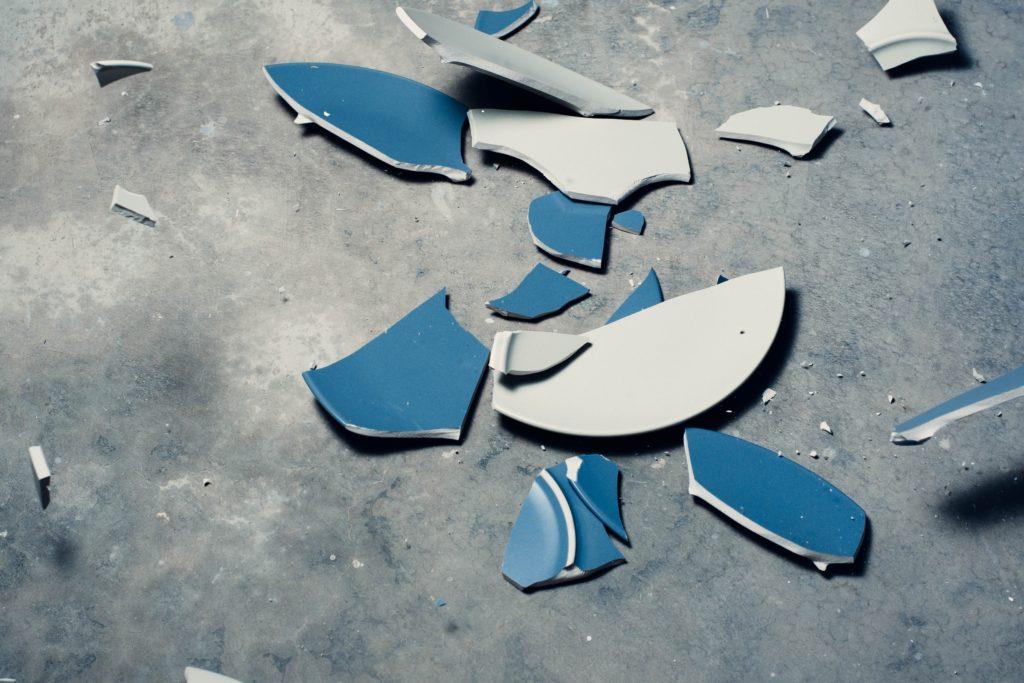 broken plate on the floor