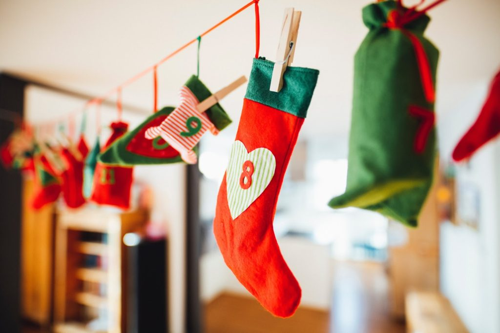Creative stocking style advent calendar hanging