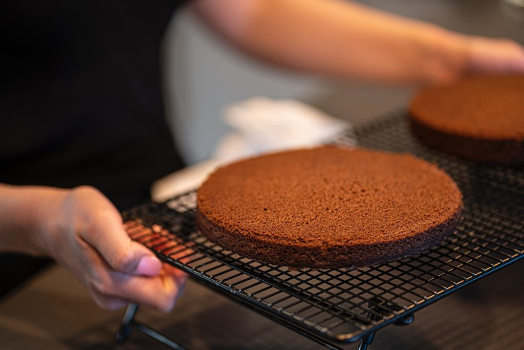 Chocolate sponge on a cooling tray