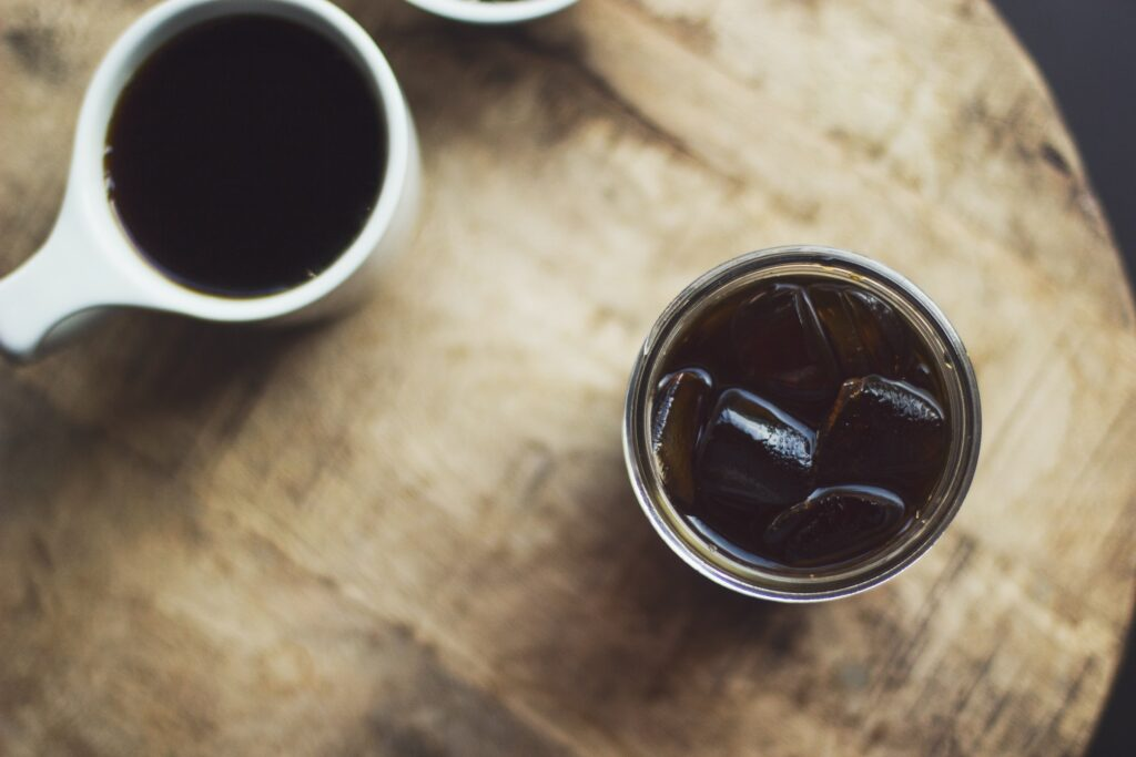 cold brew coffee in a glass with ice seen from above