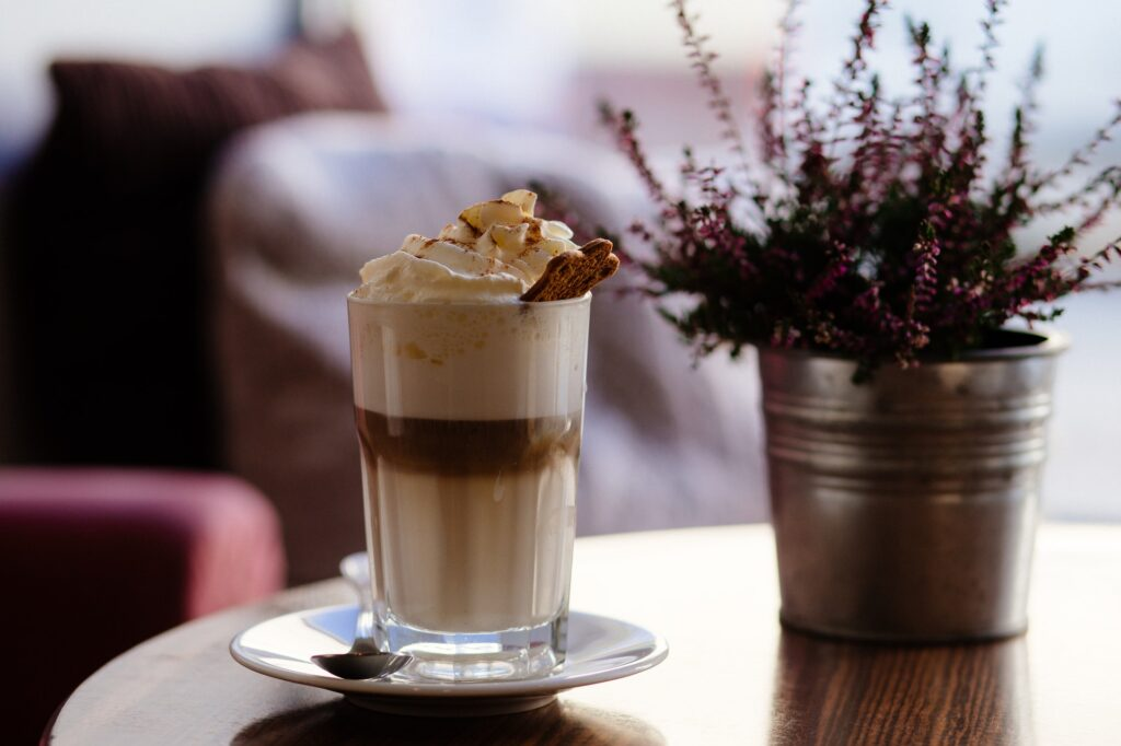 frappe coffee with whipped cream