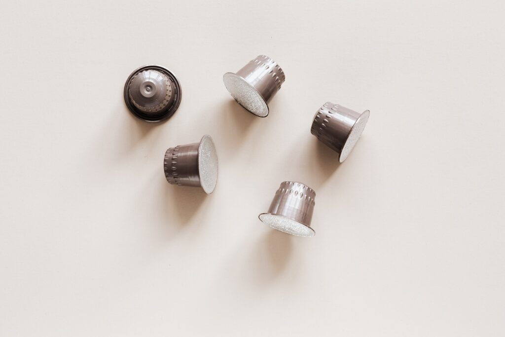 unbranded silver coffee pods for a coffee machine