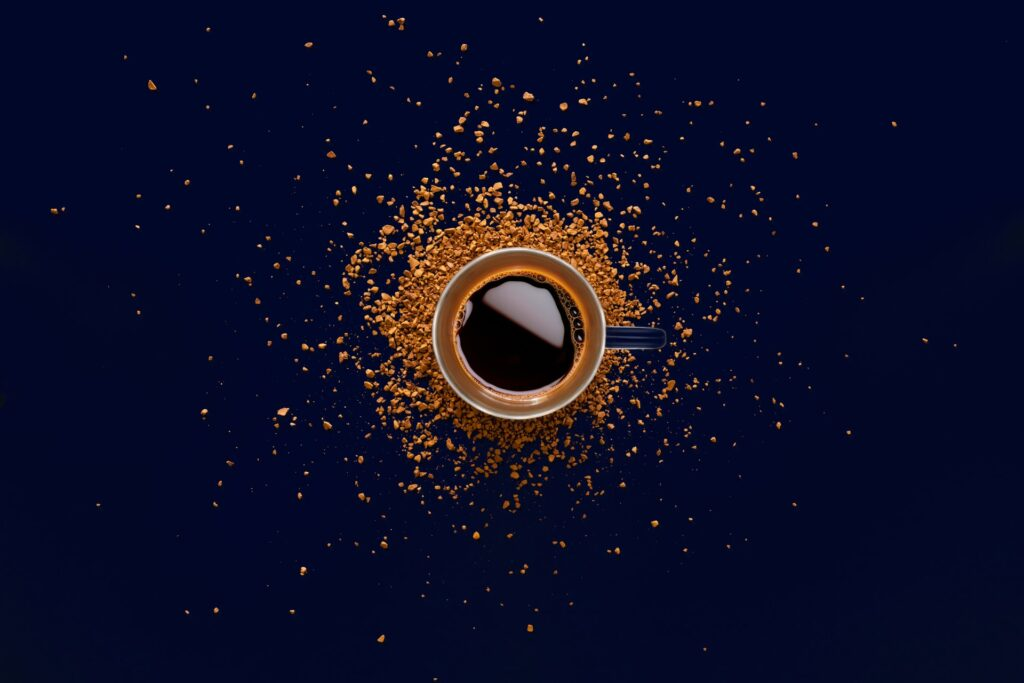 cup of instant coffee on a black background