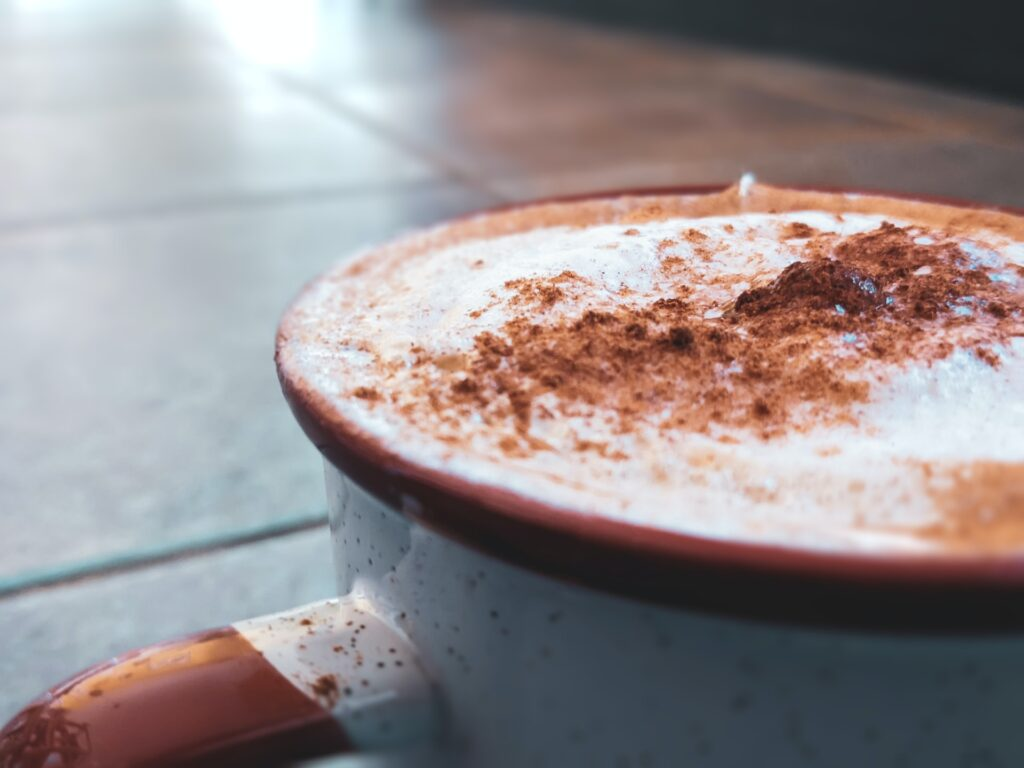 cappuccino with cocoa powder sprinkles