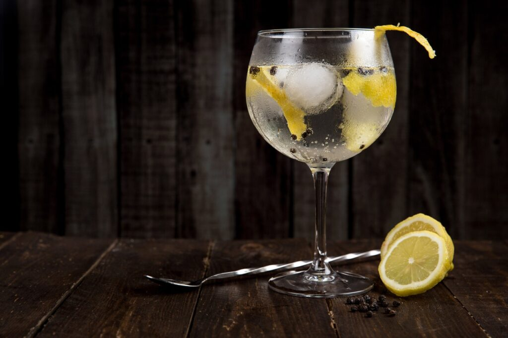 gin and tonic in a goblet glass with lemon and peppercorns