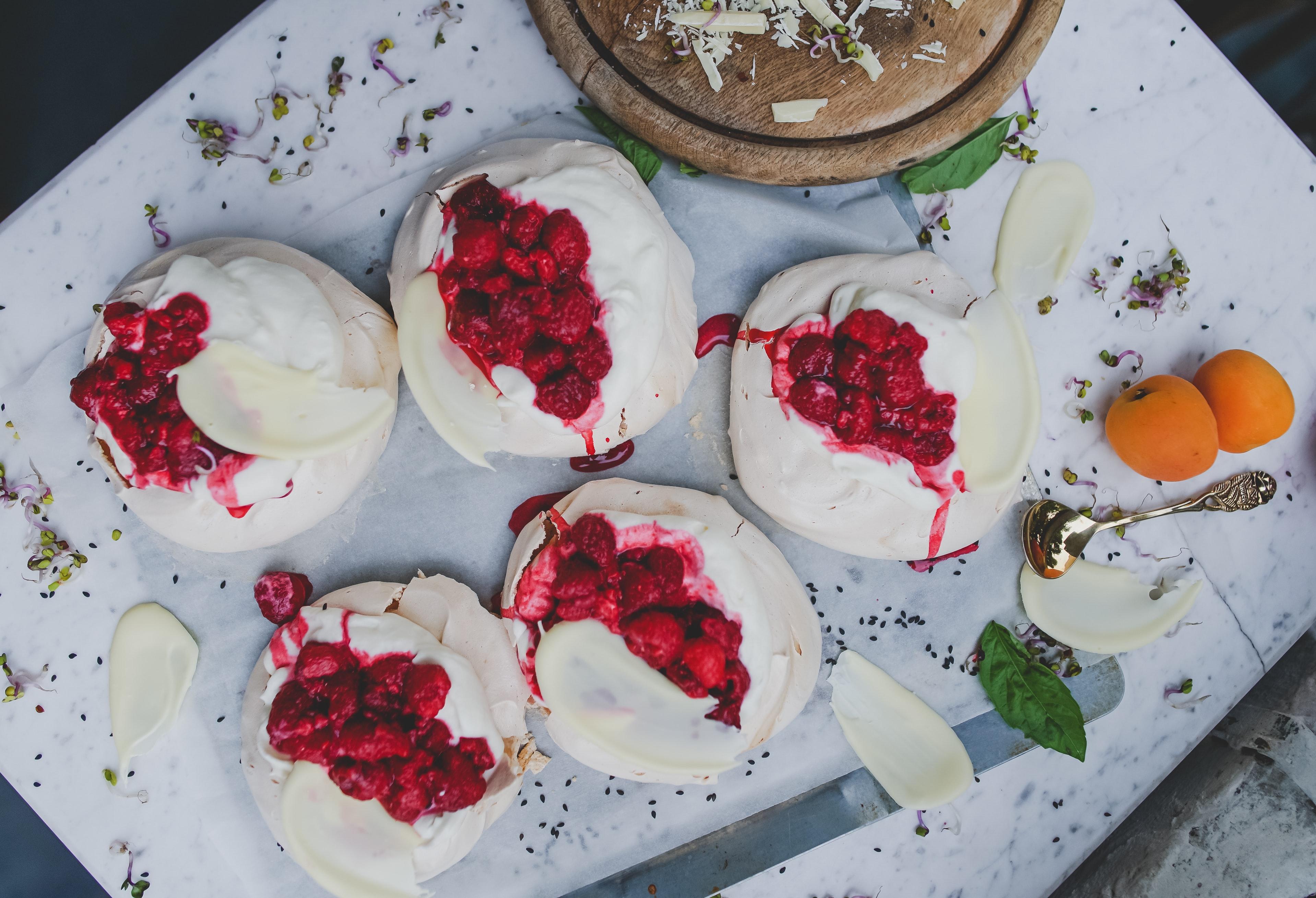 White chocolate and raspberries